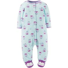 1a67411ec19 Child of Mine by Carter s Newborn Baby Girl Microfleece Snap-Up Sleep N  Play - Walmart.com