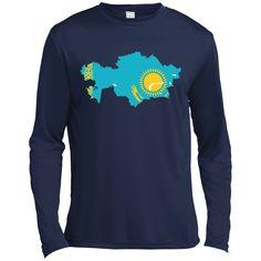 Kazakhstan flag Long Sleeve Moisture Absorbing Shirt