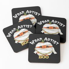 'Wrap Artist' Coasters by teaseBYjteez Cold Drinks, Coaster Set, Cork, Halloween Decorations, Vibrant, It Is Finished, Artist, Prints, Cool Drinks