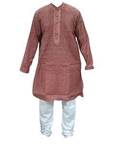 6c2d03e8421 Mogul Brown Cotton Mens Kurta Pajamas Set Traditional Wear Indian Clothing  Mogul http://