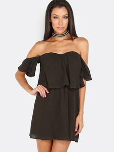 """Sit back and sip on some margaritas this summe in this sexy off shoulder Olive dress. Dress features off shoulder bardo style with sweetheart neckline, inside body lining and back zipper for clousure. Measures 25.2"""" in. approx. from top to bottom hem. Finish the look off with sexy wedges and loose beach waves. #dresses #offtheshoulder #MakeMeChic #MMC #style #fashion #newarrivals #summer16"""