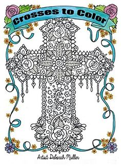 crosses to color adult christian coloring book to relieve stress by deborah muller http - Book To Color