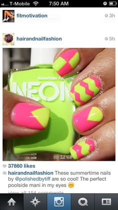 Hot pink & lime green nails