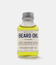 Prospector Co. Beard Oil Mini Flask by Burroughs: Contains Argan, Grapeseed, Cedarwood, Sandalwood and other pure essential oils. Moustaches, Cobbler Aprons, Best Beard Oil, Thing 1, Best Gifts For Men, Beard Care, Men's Grooming, My Guy, Facial Hair