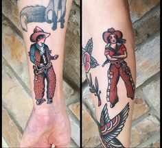 Traditional cowboy and cowgirl couples tattoo.