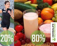 Aplica esta ecuación es 80% Nutrición 20% Ejercicio y lograras el Bienestar, si deseas mayor información escríbenos a contacto@herbafitline.com o al + 57 3176666887 #herbafitline