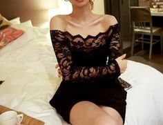 Sexy Style Boat Collar Off-The-Shoulder Solid Color Long Sleeve Lace Dress For Women. Love the long sleeve lace. Dresses Short, Club Dresses, Sexy Dresses, Casual Dresses, Fashion Dresses, Dresses 2013, Dresses Online, Sleeve Dresses, Cheap Dresses