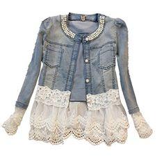 Ghope Women Denim Jacket Vintage Lace *** Click image for more details.