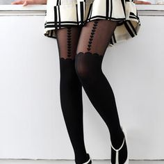 Heart Print Two-Tone Tights from #YesStyle <3 59 Seconds YesStyle.com