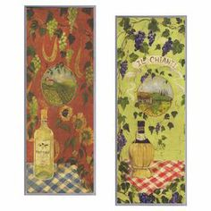 """A perfect finishing touch to your dining room or kitchen, this charming wall decor features a wine-themed motif.  Product: 2-Piece wall decor setConstruction Material: Engineered wood Features:  Hand-painted finishReady to hangMade in the USA Dimensions: 24"""" H x 11"""" W x 0.5"""" D each"""