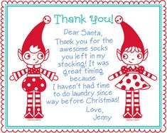 SUPER cute free after Christmas Thank You note cards for kiddos to send (from AllSorts)