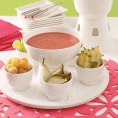 Strawberry Fondue Recipe (1pkg 10oz frozen straw sliced, 1/4C half/half, 1tsp cornstarch, 1/2tsp lemonjuice)