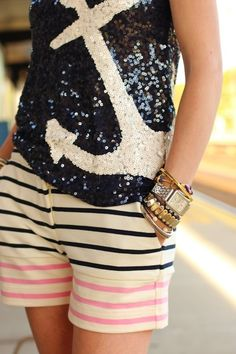 sequins + gold + stripes + anchor