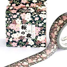 Washi Tape - Flowers on Black