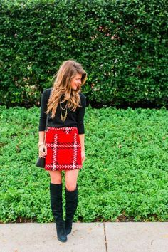 Women's Fashion Holiday Party Outfit idea: Red Plaid Mini Skirt #ChristmasPartyOutfitsCasual #christmaspartyoutfitscasual Christmas Party Outfits, Holiday Party Outfit, Plaid Mini Skirt, Mini Skirts, Tulle Skirts, Kardashian Style, Red Plaid, Trendy Outfits, Stylish