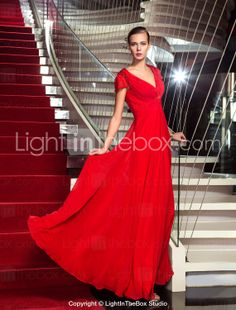 Sheath/Column V-neck Floor-length Chiffon Evening Dress inspired by Kelly Osbourne at the Emmys - USD $ 98.99