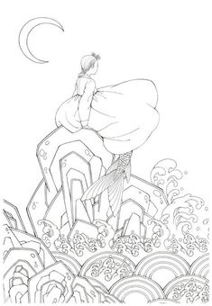 Fairy Tale Korean Illustrations Coloring Page Korean Illustration, Book Illustration, Adult Coloring Pages, Coloring Books, Adventures In Wonderland, Colorful Pictures, Small Gifts, The Little Mermaid, Line Art
