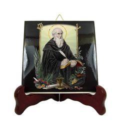 #Saint #Benedict of Nursia #christian #icon on ceramic tile #madeinitaly with love by @terrytiles2014 http://etsy.me/2uJoJ00
