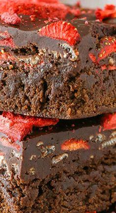 Fudgy Strawberry Chocolate Brownies