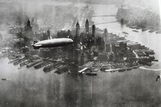 The Hindenburg airship over lower Manhattan.