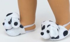 Dalmatian-Puppy-Dog-Slippers-Fits-18-American-Girl-Doll-Clothes-Bedroom-Shoes