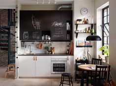 Invite creativity into your kitchen style by combining IKEA VEDDINGE white kitchen cabinet doors with UDDEVALLA chalk doors that you and your family can write on! Find modern kitchens and get inspired by more kitchen layouts in the IKEA Rooms gallery. Ikea Small Kitchen, One Wall Kitchen, Ikea Kitchen Design, Ikea Kitchen Cabinets, Kitchen Layout, Kitchen Furniture, New Kitchen, Kitchen Decor, Kitchen Living