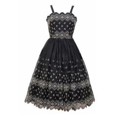 Beautiful black organza 1950s party dress - Love Miss Daisy ❤ liked on Polyvore featuring dresses, organza dress, organza cocktail dress, daisy-print dress and daisy dress