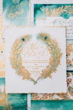 Handmade Wedding Invitations, Wedding Stationery, Rustic Luxe, Custom Stationery, Flourishes, Letter Art, Wax Seals, Jewel Tones, Gold Leaf