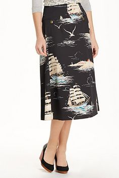 To my Stitch Fix stylist: I have this skirt and I love it so much. The length and volume are perfect and classic. I love the nautical print (printed skirts are my favorite).