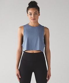 Muscle Love Crop Tank. Lululemon. Blue Denim.