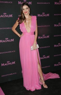 Miranda Kerr in a pink Emmanuel Ungaro dress at Cannes 2015