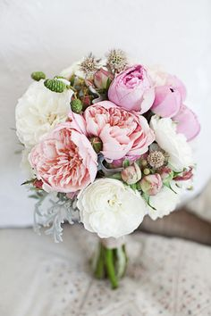 Beautiful peony bouquet by Eufloria ~ with the addition of smal soft green succulant ~ and a very soft yellow