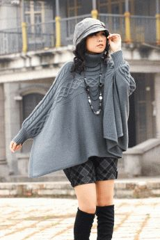 the gray top Knitted Poncho, Coats For Women, Ideias Fashion, Knitwear, Knitting Patterns, Knit Crochet, Fashion Outfits, Stylish, How To Wear