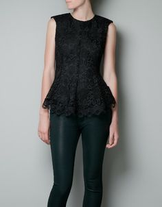 LACE PEPLUM TOP - Shirts - Woman - ZARA United States @Robin King I want this for New Year's!!
