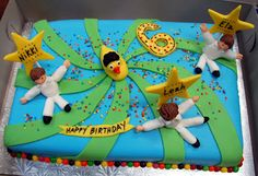 Disco cake for six-year-old triplets. Gotta love the disco duck with the afro!