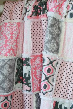 Rag Quilt Crib or Toddler Size Zoology Baby Girl by justluved, $129.00