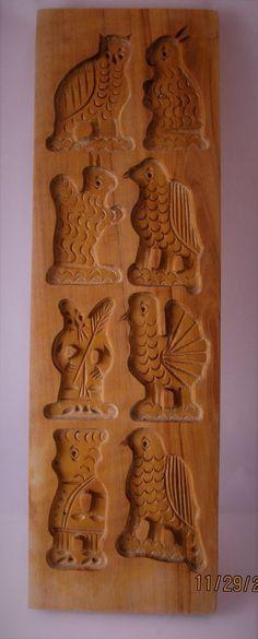 VINTAGE WOODEN Springerle Speculaas Butter Cookie Stamp Mold Press - 8 PRINTS   | eBay
