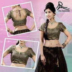 """Black blouse with gold embroidery - Ready Made Padded Saree Blouse. """"Ra apparels"""" launched by MuHeNeRa Ra 28"""