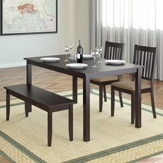 Add comfort to your dining room with this practically styled dining set from CorLiving. This set includes two chairs with beige microfiber upholstered seats, a stylish 2-person bench and an oblong wood table constructed of hardwood and wood veneers.