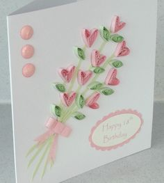 Handmade 18th birthday card, quilled flowers, quilling greeting. £5.00, via Etsy.