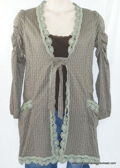 Hazel Womens Medium Overlay Cover Up Cardigan Crochet Trim Olive Green Boho #Hazel #OverlayCoverUp #Casual