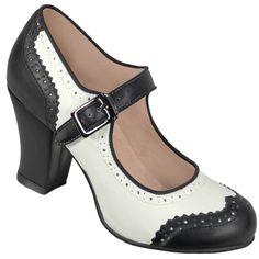Aris Allen Black and White 1940s Heeled Wingtip Mary Jane Swing Dance Shoe, dancestore.com - 1
