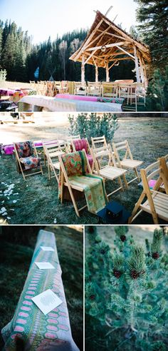 Sara + Austin's Rustic and Intimate Wedding at Dunton Hot Springs » Michele Hart Photography    Outdoor Wedding Ceremony Decorations with blankets.     Design by @Kara Delay Love This Day Events