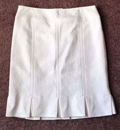 Women's NANETTE LEPORE Ivory Cream Cotton Knee Length A Line Skirt Size 4 #NanetteLepore #ALine