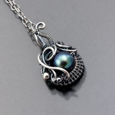 Freshwater Pearl and Fine Silver Pendant - Oceans Breath. $46.00, via Etsy.