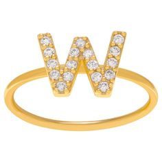 1/6 CT. T.W. Round-cut CZ Initial W Pave Set Ring in Sterling Silver - Gold, 10, Gold Letter W