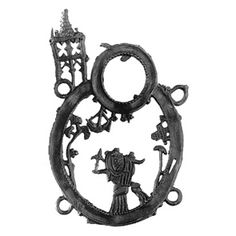 object number: 00462  Mary with Child and sceptre flanked by pilgrim on her left side, small tree to left and right, above her head ex voto's and circle-shaped mirror-frame, in round frame surmounted by open-work towers,