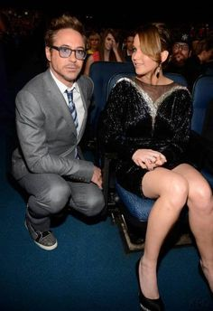 Robert Downey Jr and Jennifer Lawrence. I can't believe this picture is happening. OMG.
