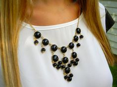 The Emily Midnight Black Bubble Necklace   Designer by PlumbGlad, $10.00 Plumb Glad has super cute mini bubble statement necklaces in stock now!
