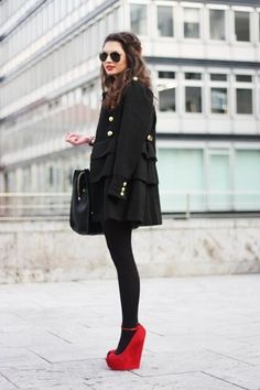 Wear all black (leggings/tights) with red wedges.